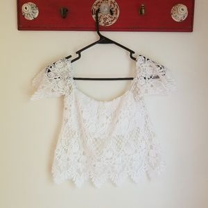 Pac Sun Crochet Lace Off-the-shoulder Crop Top